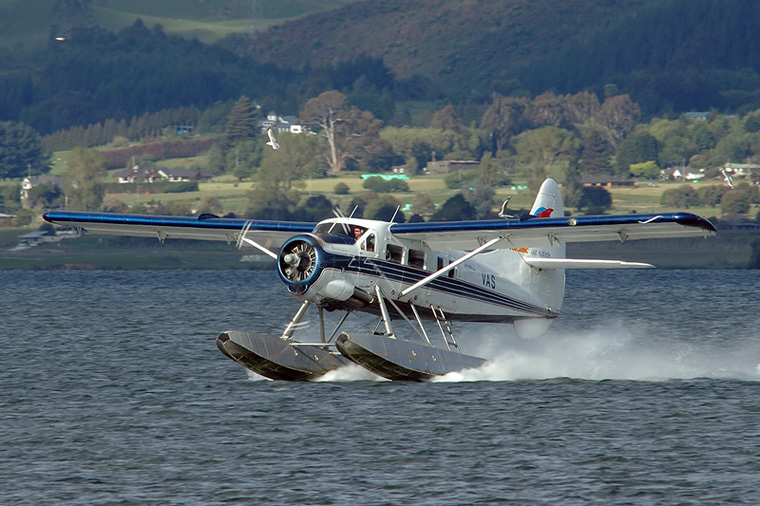 Volcanic Air Safaris ZK-VAS aircraft at Lake Rotorua