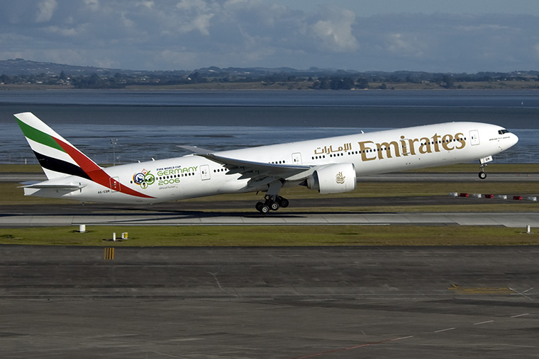 Emirates Airlines A6-EBM aircraft at Auckland Intl