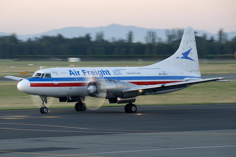 Air Freight NZ ZK-KFJ aircraft at Christchurch Intl