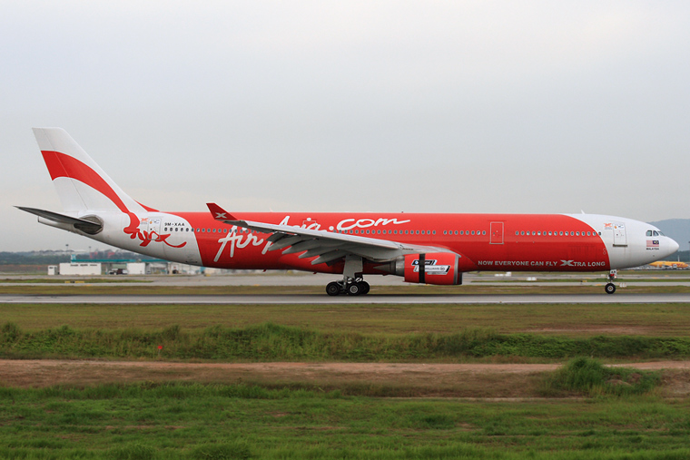 AirAsia X 9M-XAA aircraft at Kuala Lumpur Intl