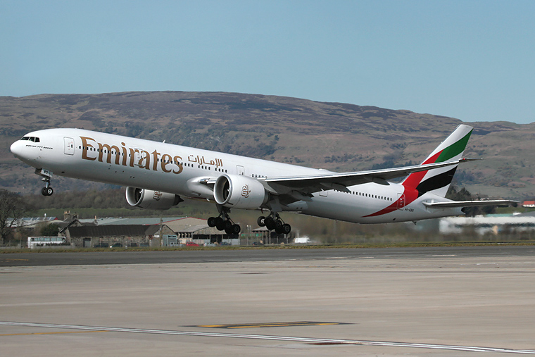 Emirates Airlines A6-EBS aircraft at Glasgow