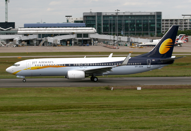 Jet Airways VT-JGW aircraft at Birmingham