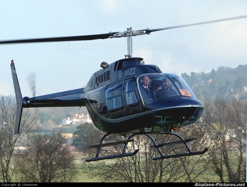 Private G-WIZZ aircraft at Cheltenham Racecourse Heliport