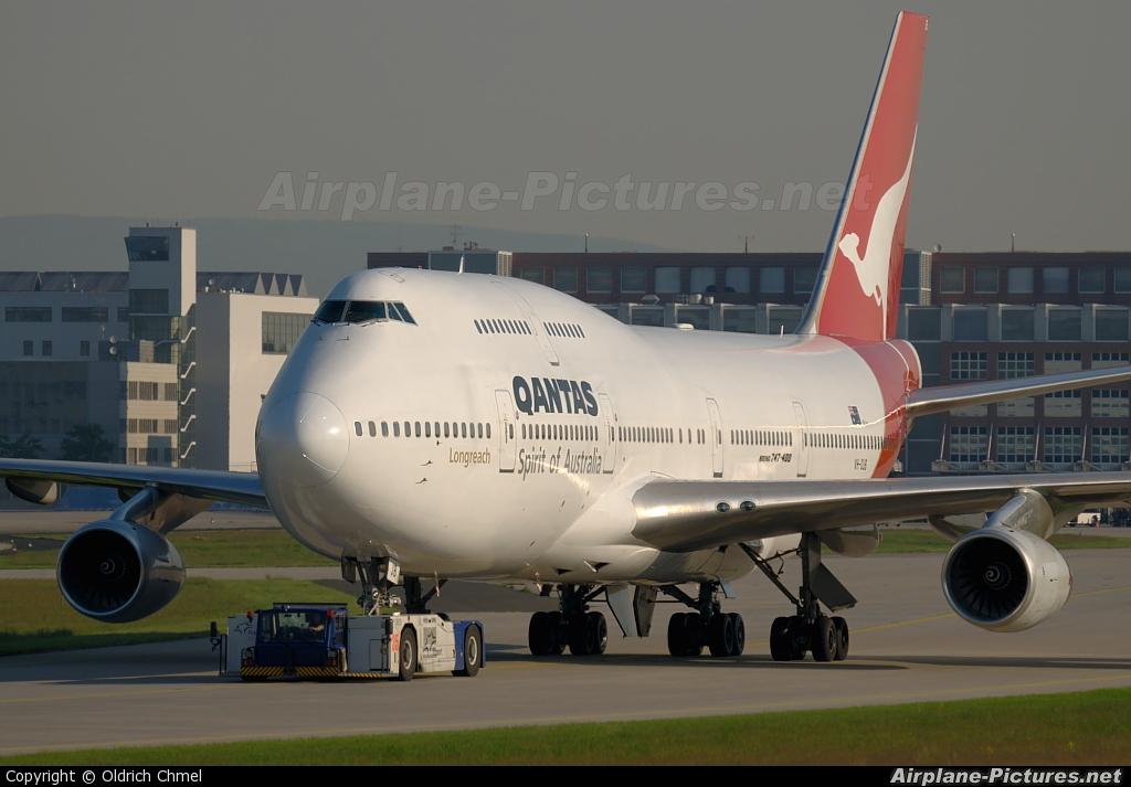 QANTAS VH-OJB aircraft at Frankfurt