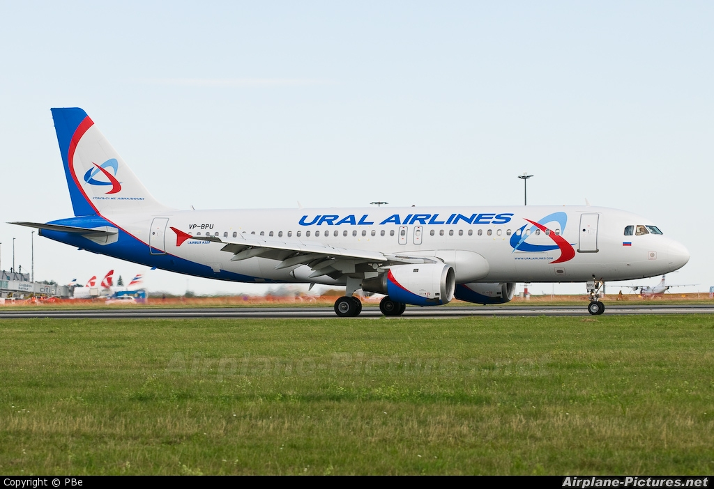 Ural Airlines VP-BPU aircraft at Prague - Václav Havel