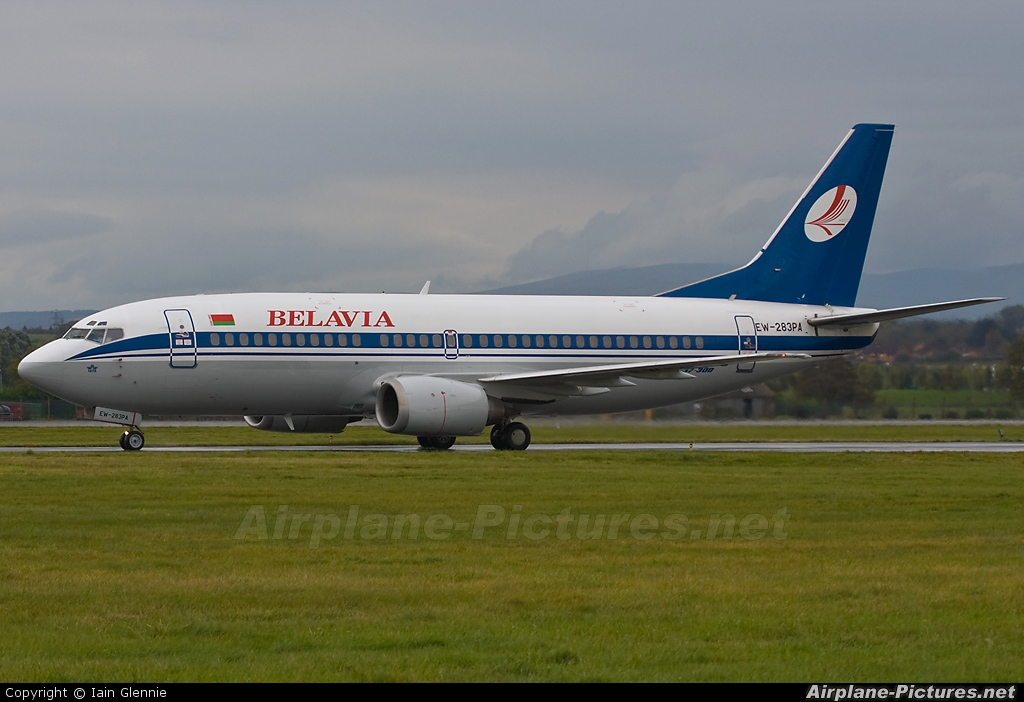 Belavia EW-283PA aircraft at Glasgow