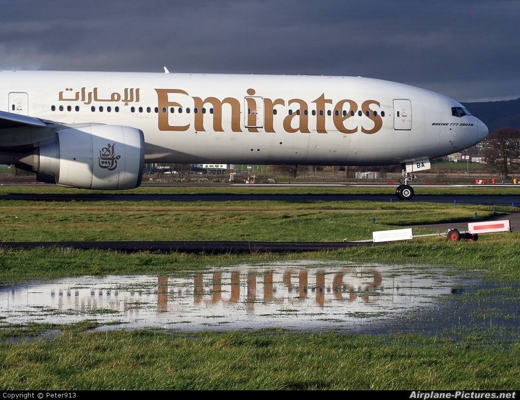 Emirates Airlines A6-EBA aircraft at Glasgow