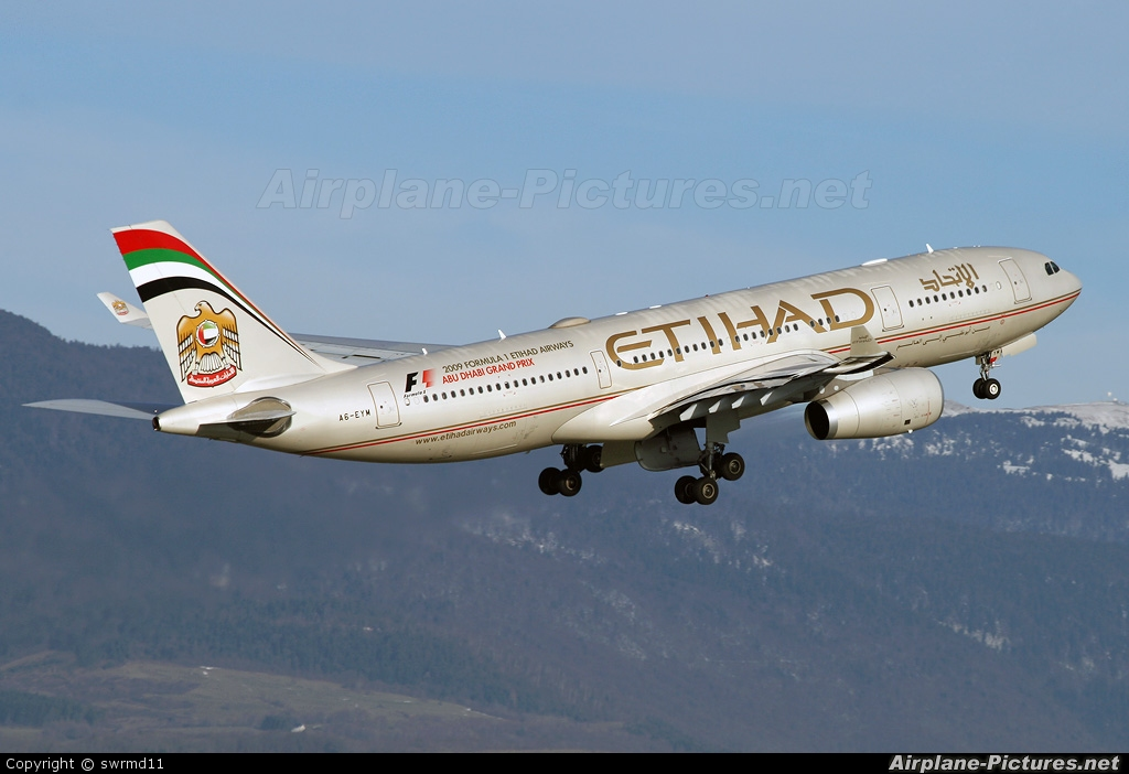 Etihad Airways A6-EYM aircraft at Geneva Intl
