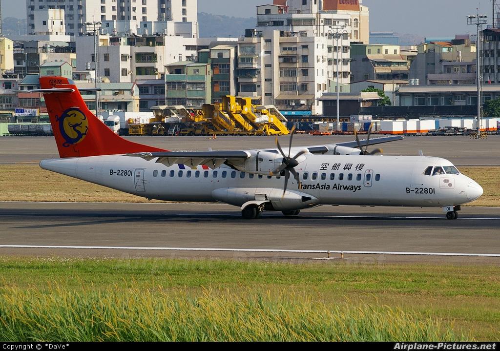 TransAsia Airways B-22801 aircraft at Kaohsiung Intl