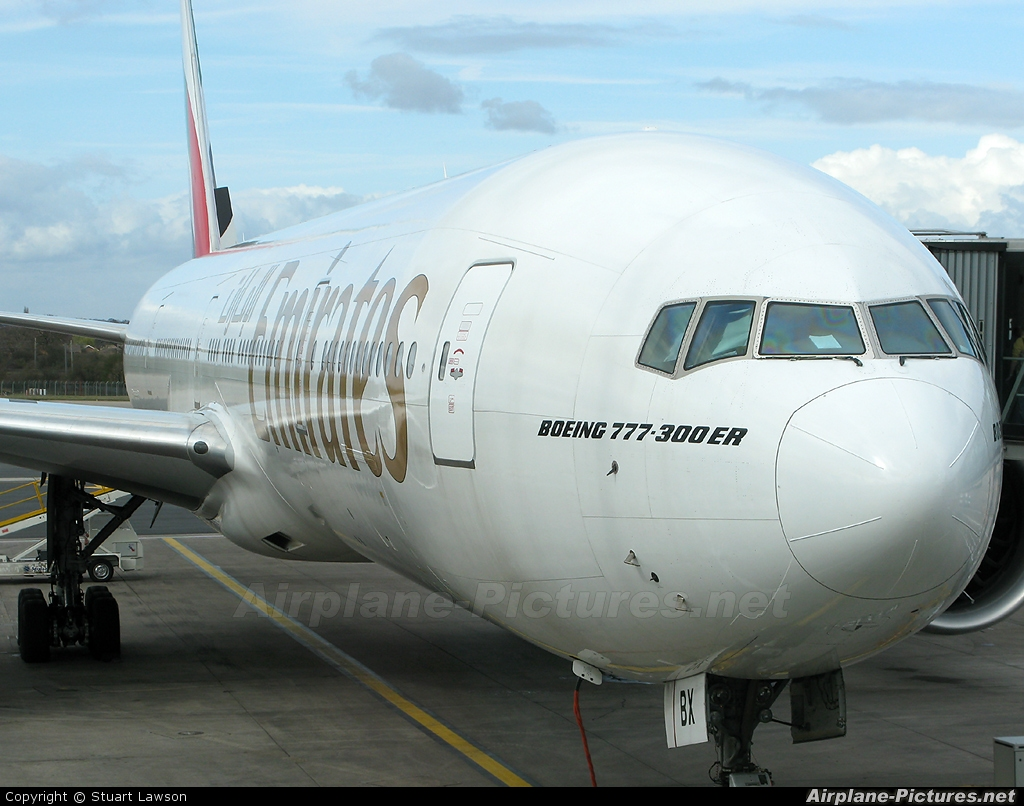 Emirates Airlines A6-EBX aircraft at Birmingham