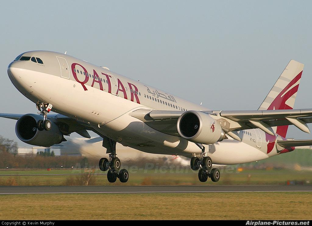 Qatar Airways A7-ACJ aircraft at Manchester