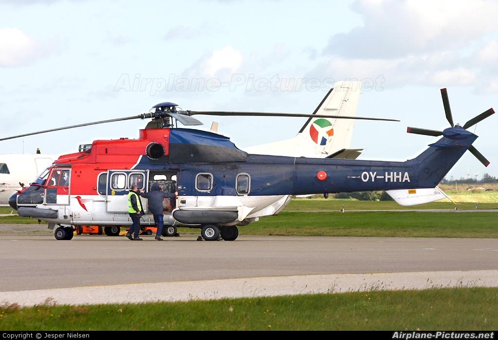 CHC Denmark OY-HHA aircraft at Esbjerg