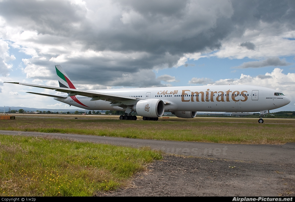Emirates Airlines A6-EBR aircraft at Glasgow