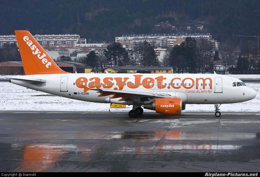 easyJet G-EZAB aircraft at Innsbruck