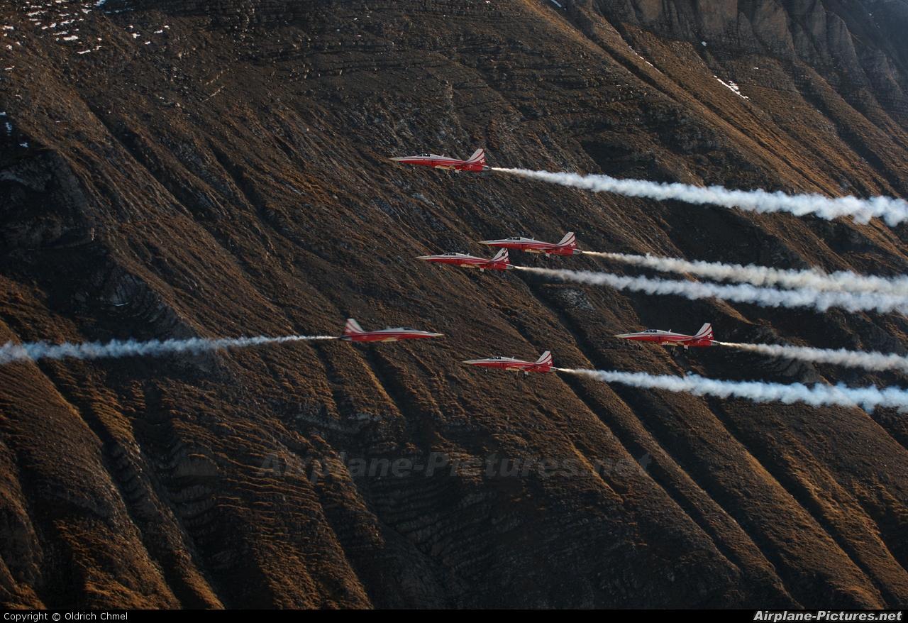Switzerland - Air Force:  Patrouille de Suisse J-3088 aircraft at Axalp - Ebenfluh Range