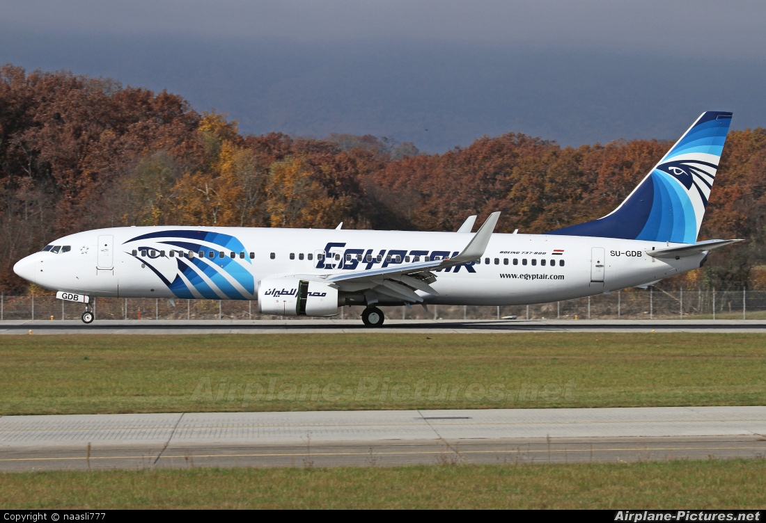 Egyptair SU-GDB aircraft at Geneva Intl