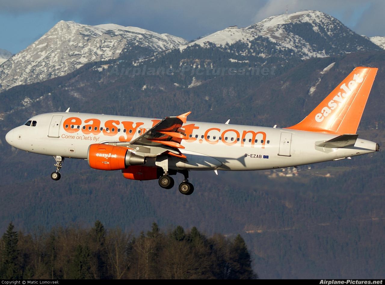 easyJet G-EZAB aircraft at Ljubljana - Brnik