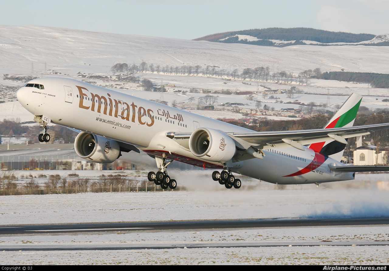 Emirates Airlines A6-ECZ aircraft at Glasgow