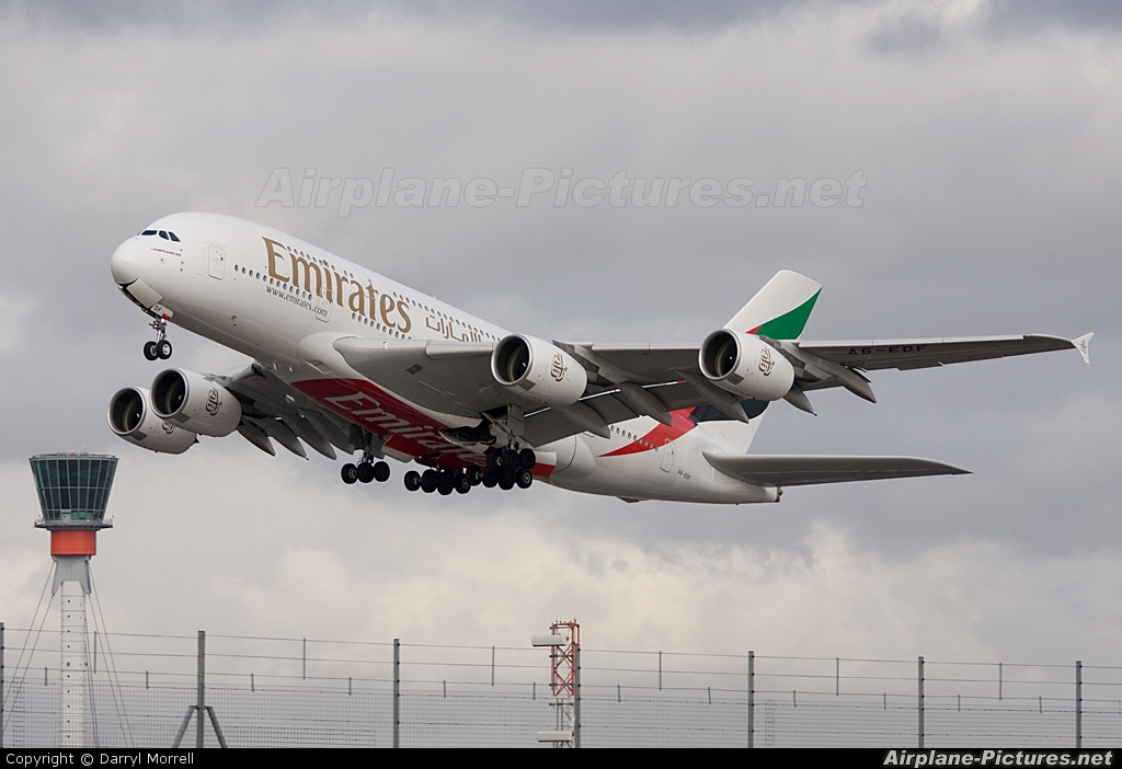 Emirates Airlines A6-EDF aircraft at London - Heathrow