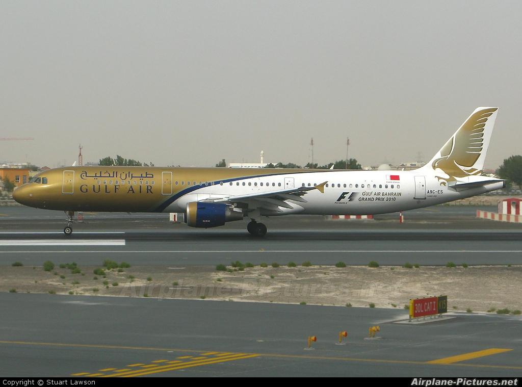 Gulf Air A9C-ES aircraft at Dubai Intl
