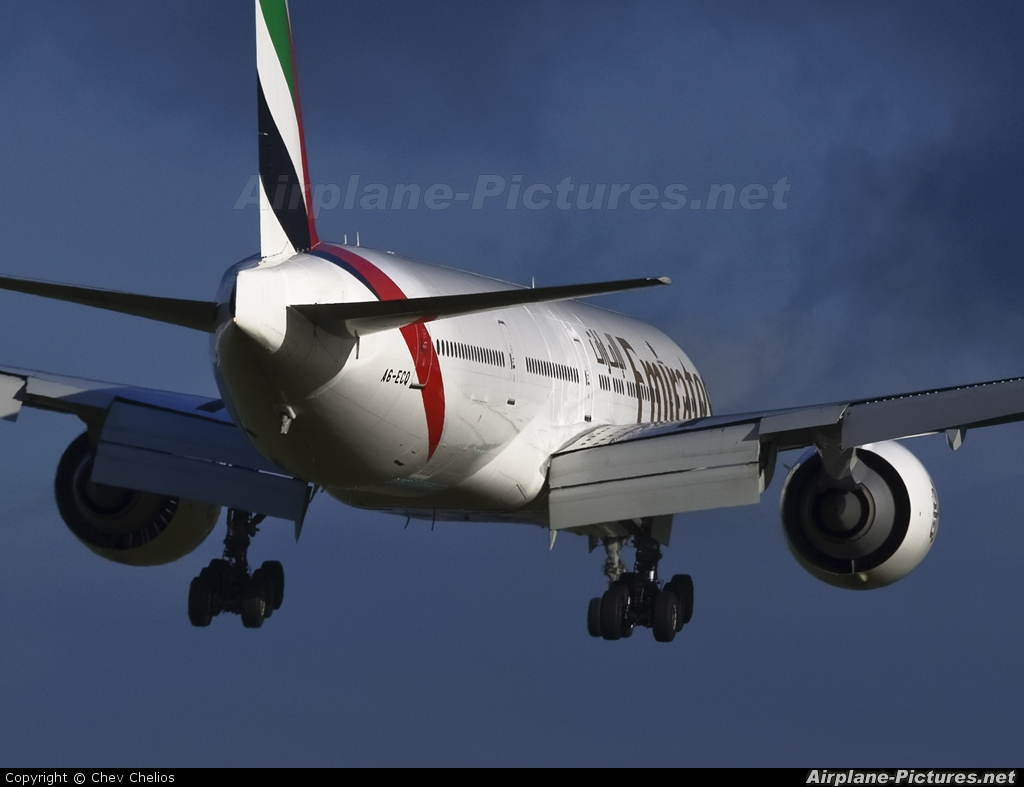 Emirates Airlines A6-ECQ aircraft at Christchurch Intl