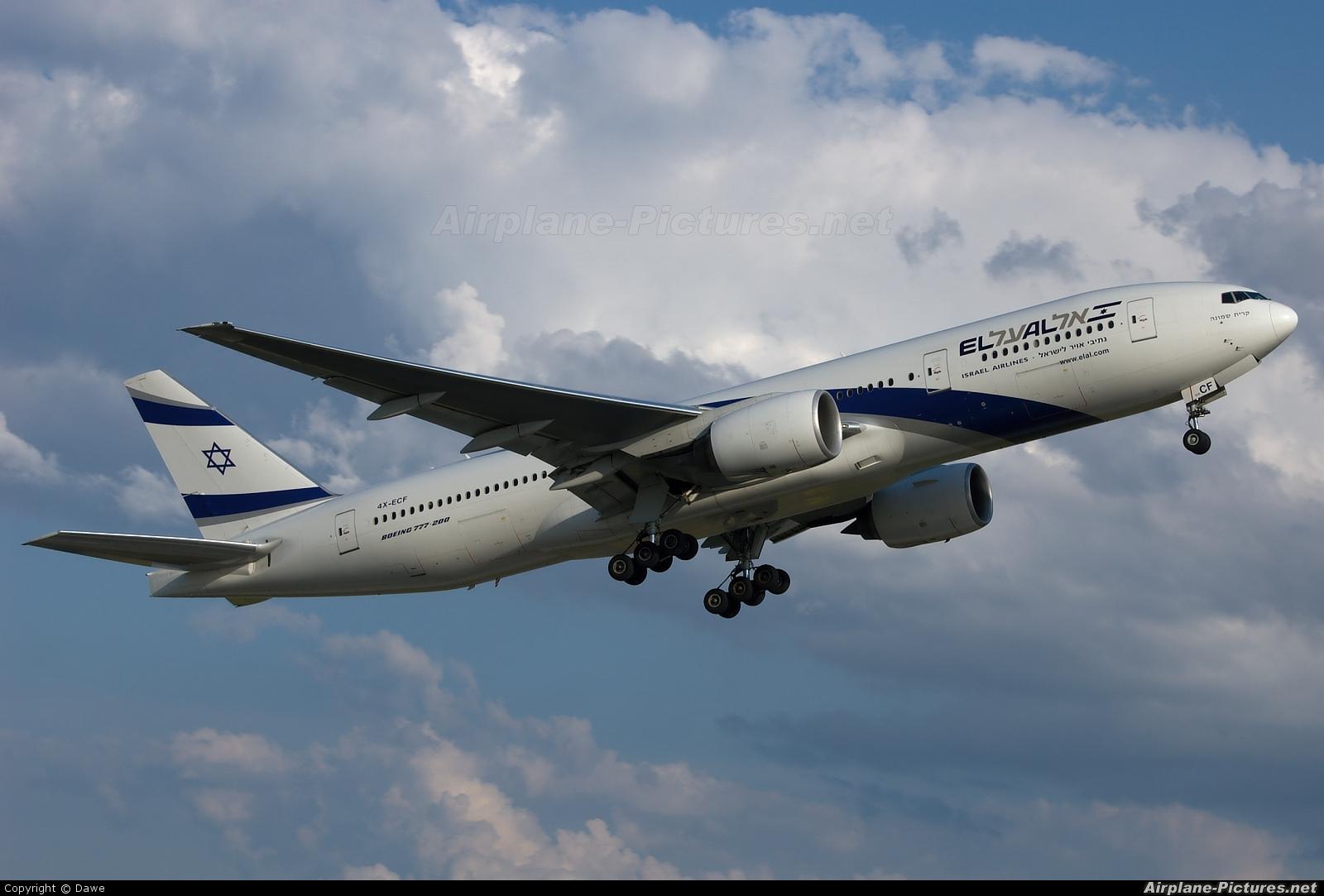 El Al Israel Airlines 4X-ECF aircraft at Prague - Václav Havel