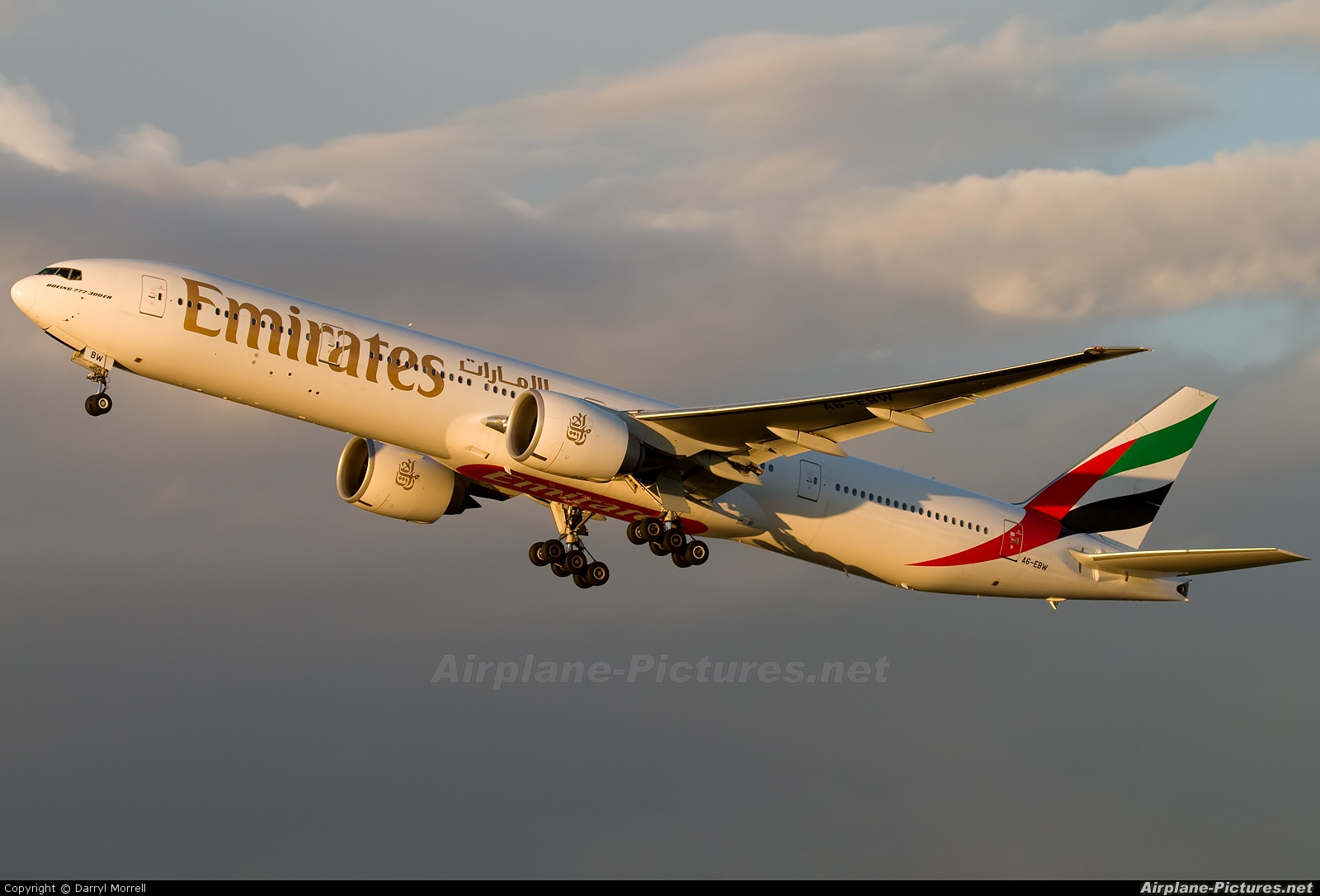 Emirates Airlines A6-EBW aircraft at London - Heathrow
