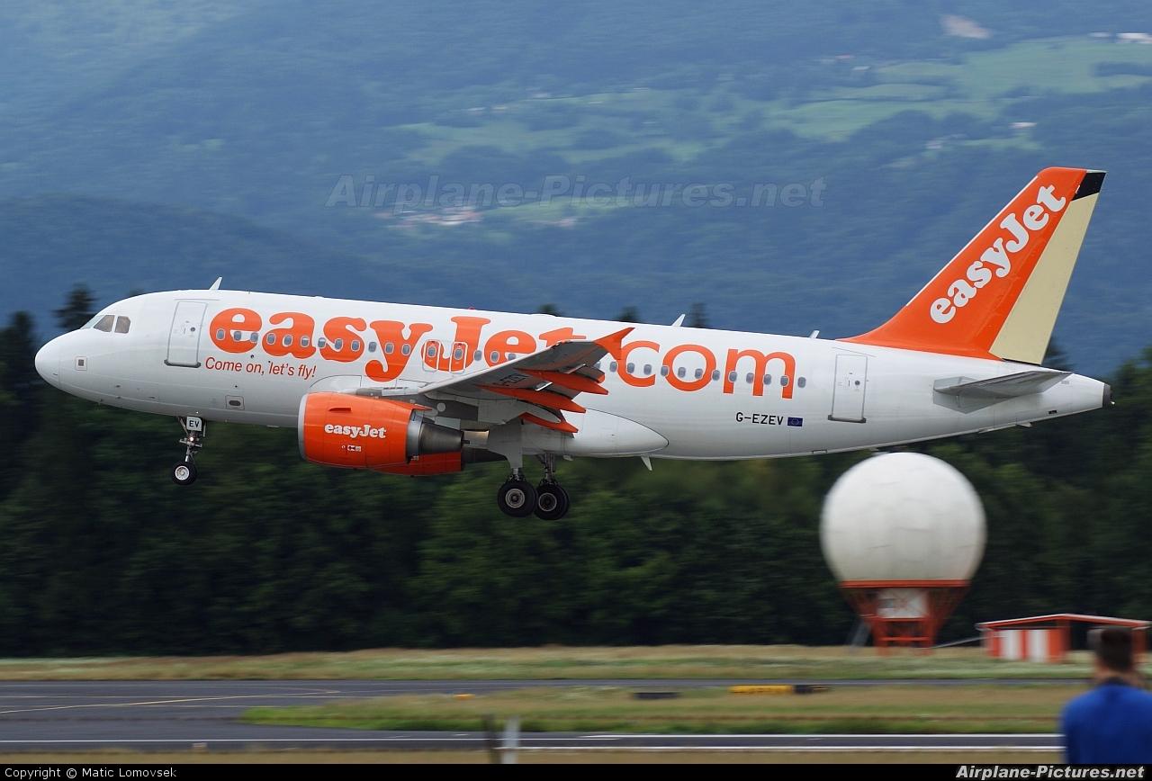 easyJet G-EZEV aircraft at Ljubljana - Brnik