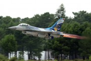 "First flight of the new ""SABRE"" paint scheme on F-16 of Portugal Air Force title="