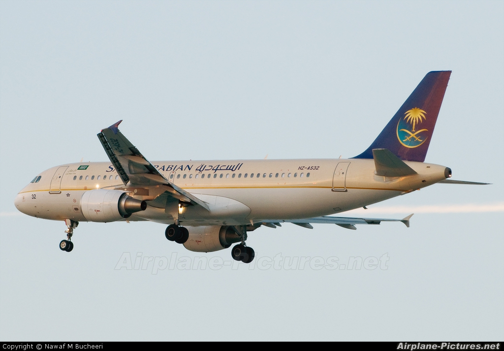 Saudi Arabian Airlines HZ-AS32 aircraft at Bahrain Intl