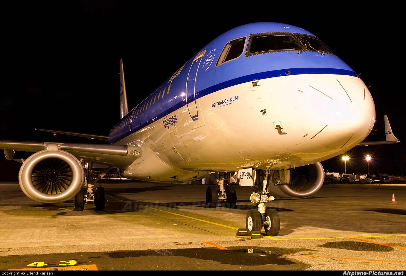 KLM Cityhopper PH-EZF aircraft at Trondheim - Vaernes