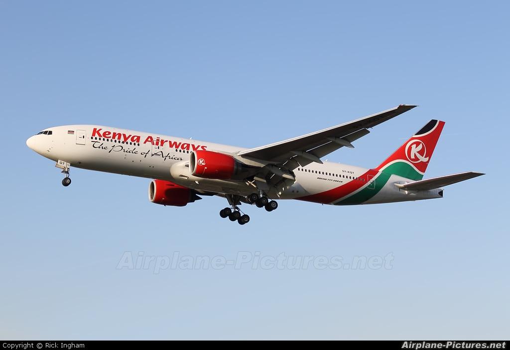 Kenya Airways 5Y-KQT aircraft at London - Heathrow