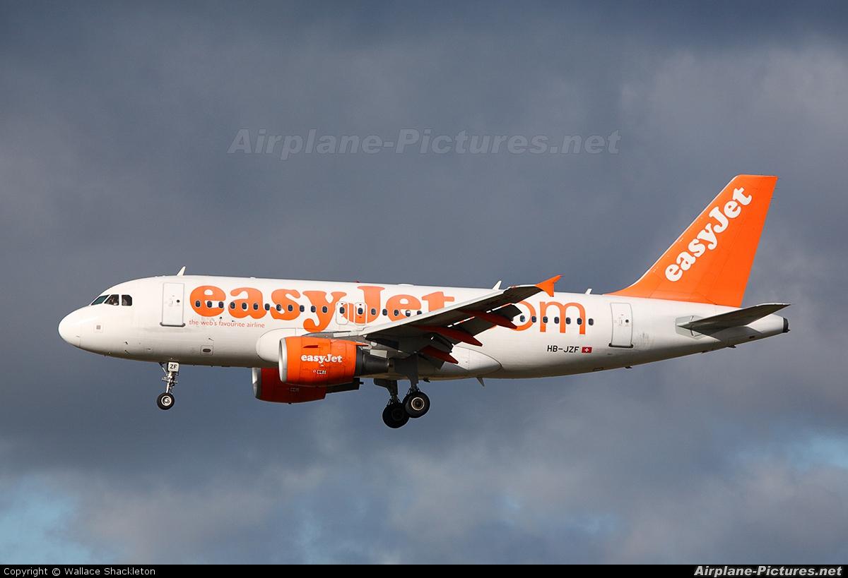 easyJet Switzerland HB-JZF aircraft at Edinburgh