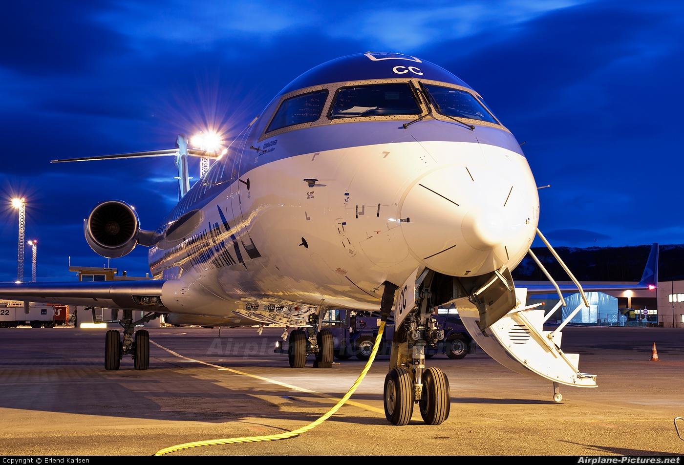 Estonian Air ES-ACC aircraft at Trondheim - Vaernes