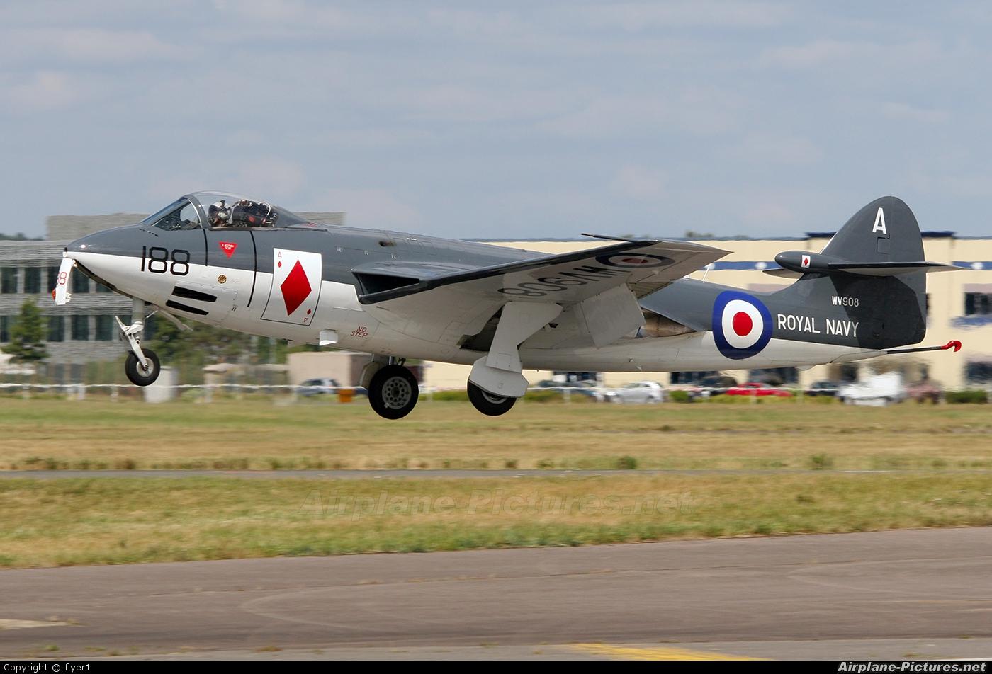"""Royal Navy """"Historic Flight"""" WV908 aircraft at Farnborough"""