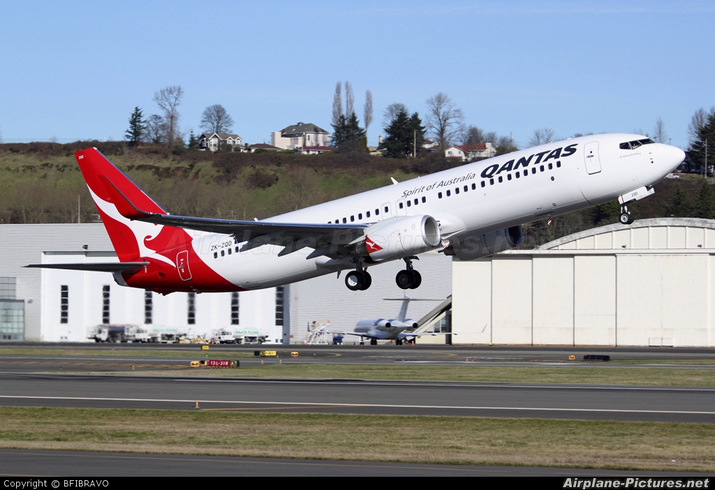 QANTAS ZK-ZQD aircraft at Seattle - Boeing Field / King County Intl