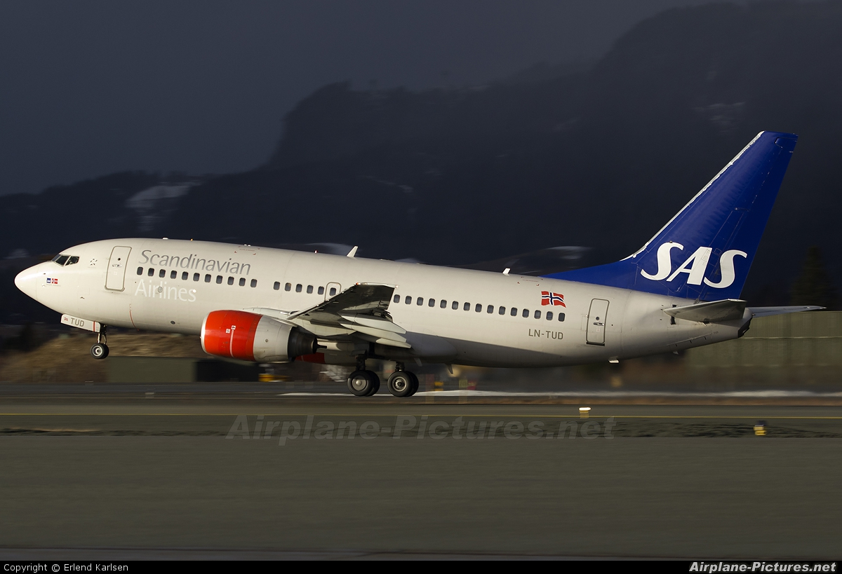 SAS - Scandinavian Airlines LN-TUD aircraft at Trondheim - Vaernes
