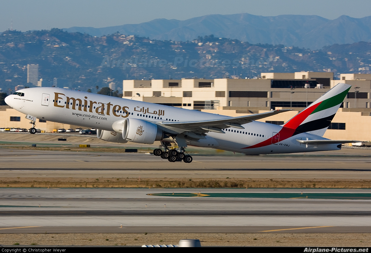 Emirates Airlines A6-EWJ aircraft at Los Angeles Intl