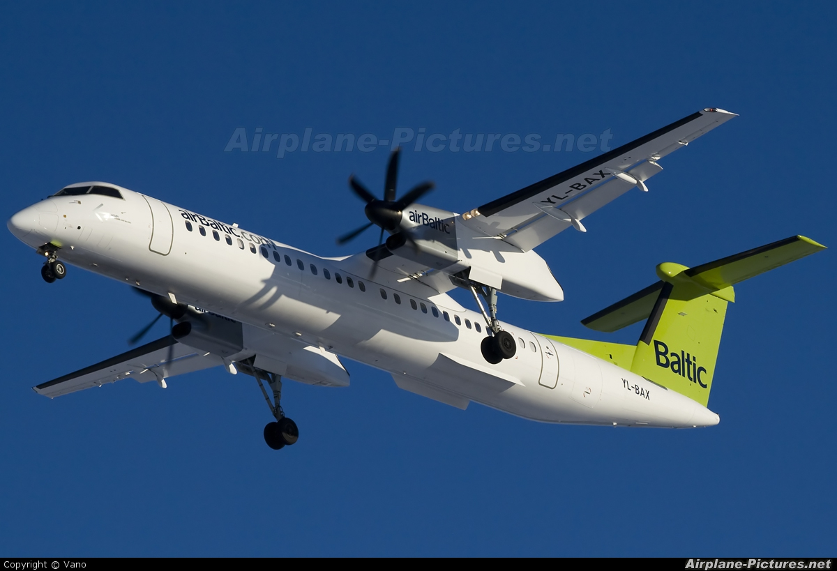 Air Baltic YL-BAX aircraft at Riga - Int