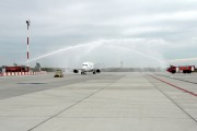Water salute for the first airBaltic flight to Budapest title=