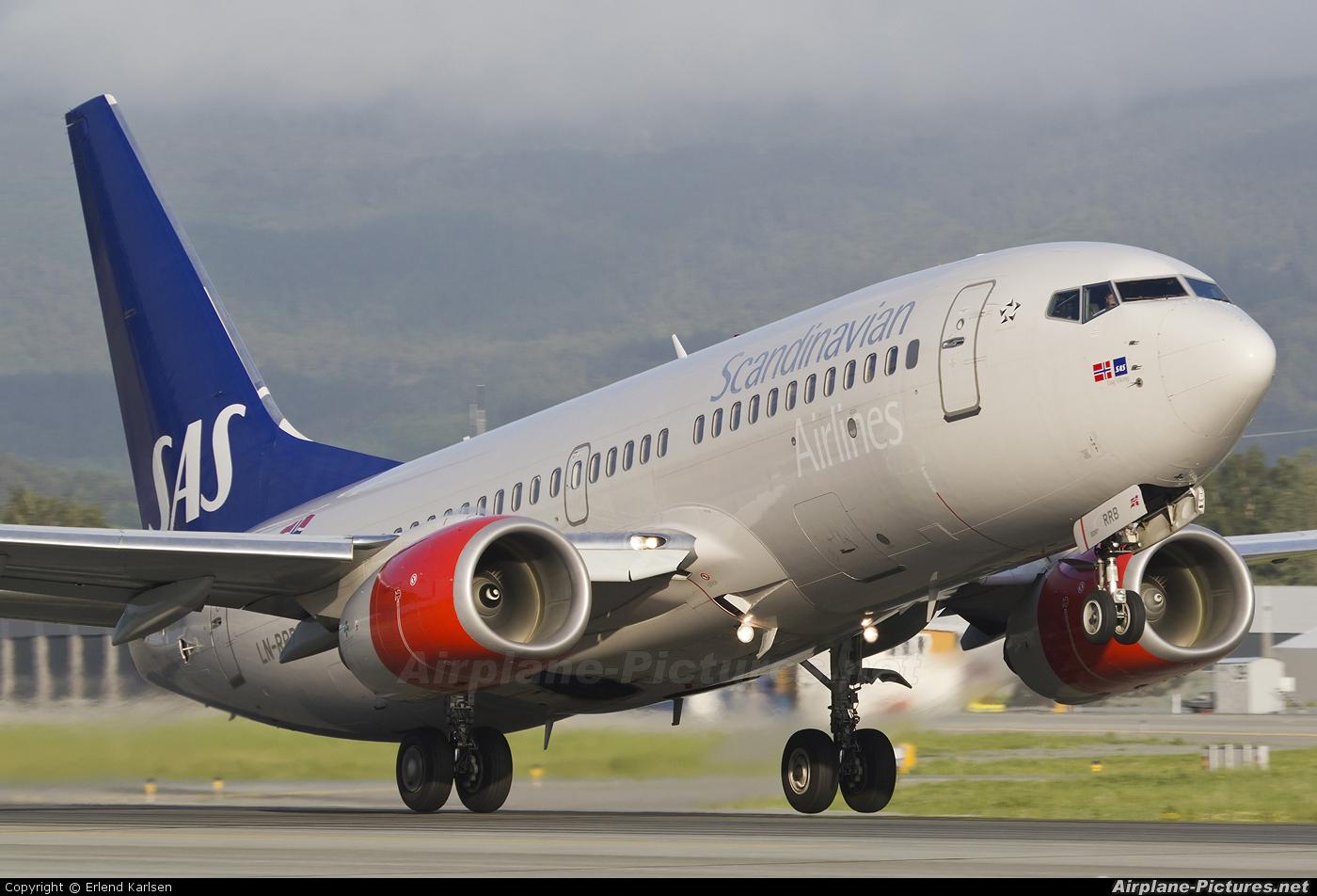 SAS - Scandinavian Airlines LN-RRB aircraft at Trondheim - Vaernes