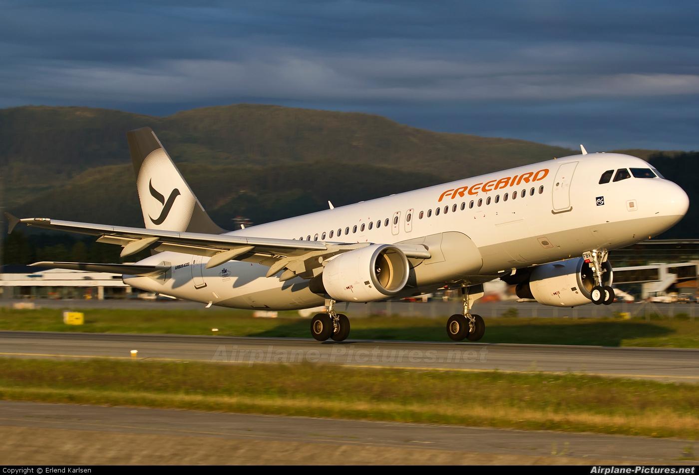 FreeBird Airlines TC-FBV aircraft at Trondheim - Vaernes