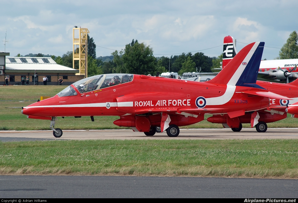 "Royal Air Force ""Red Arrows"" XX308 aircraft at Farnborough"