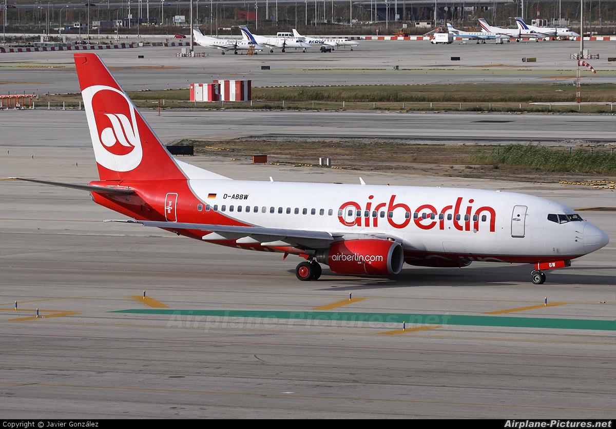 Air Berlin D-ABBW aircraft at Barcelona - El Prat