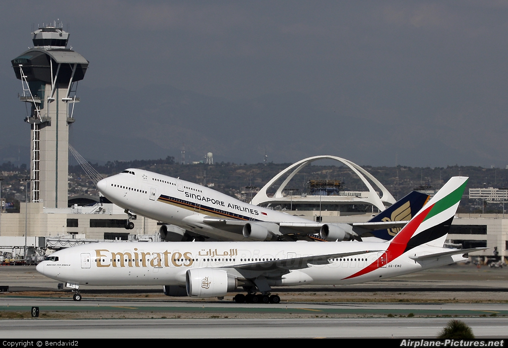 Emirates Airlines A6-EWC aircraft at Los Angeles Intl