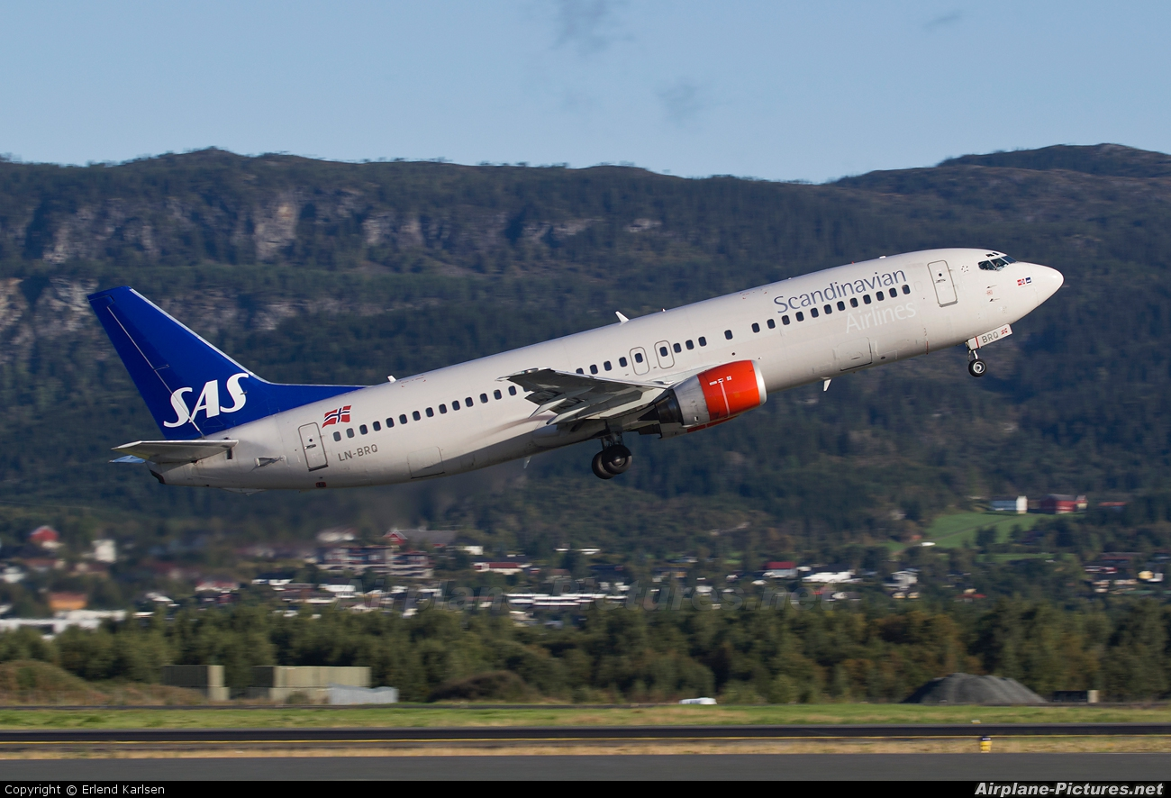 SAS - Scandinavian Airlines LN-BRQ aircraft at Trondheim - Vaernes