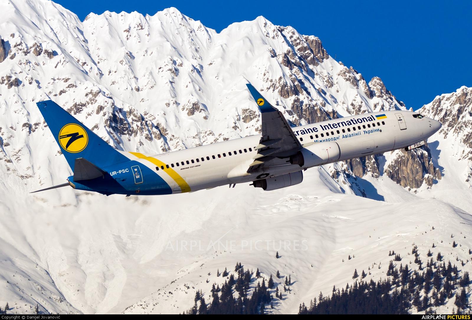 Ukraine International Airlines UR-PSC aircraft at Innsbruck