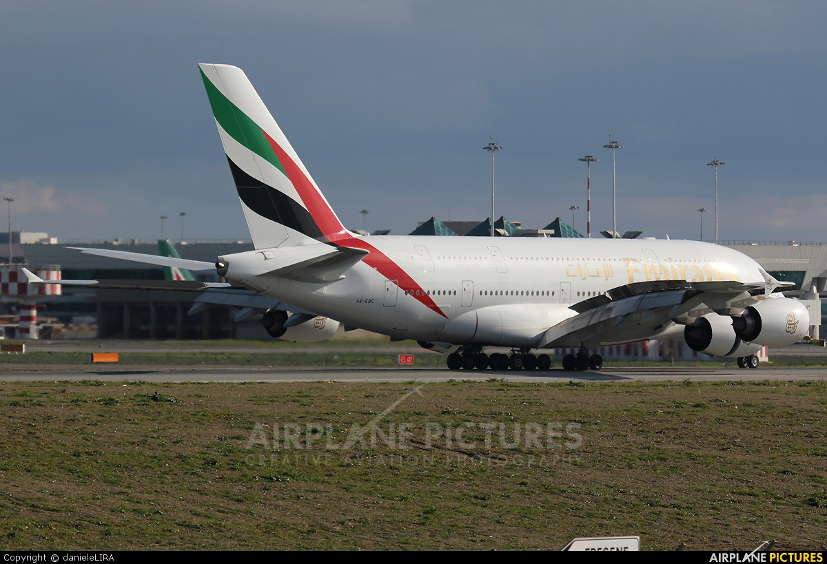 Emirates Airlines A6-EDC aircraft at Rome - Fiumicino