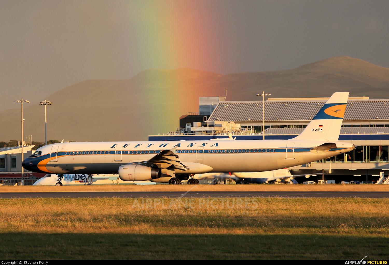 Lufthansa D-AIRX aircraft at Edinburgh