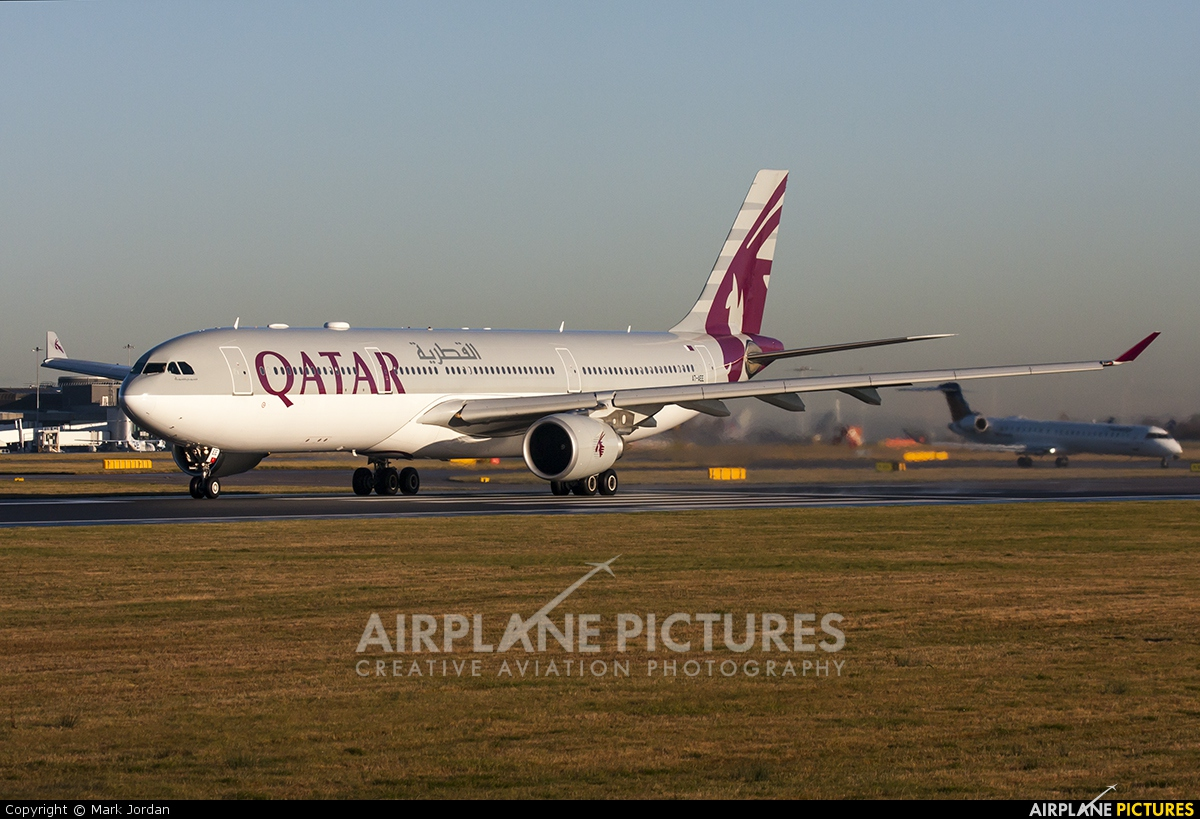 Qatar Airways A7-AEE aircraft at Manchester